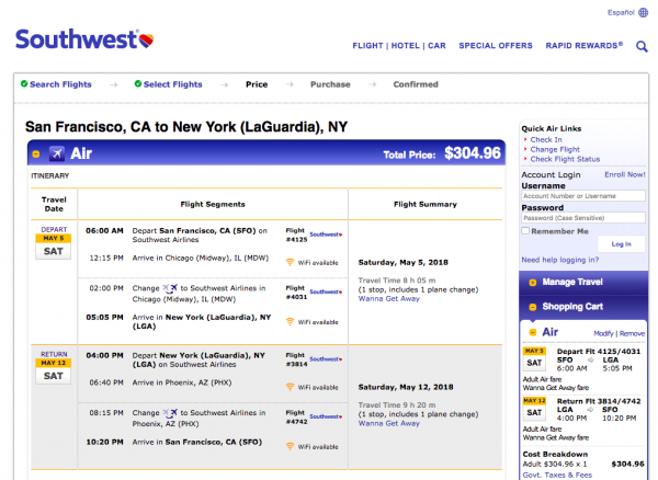 Southwest Airlines Travel Insurance - $304 SFO - NYC Return | AardvarkCompare.com