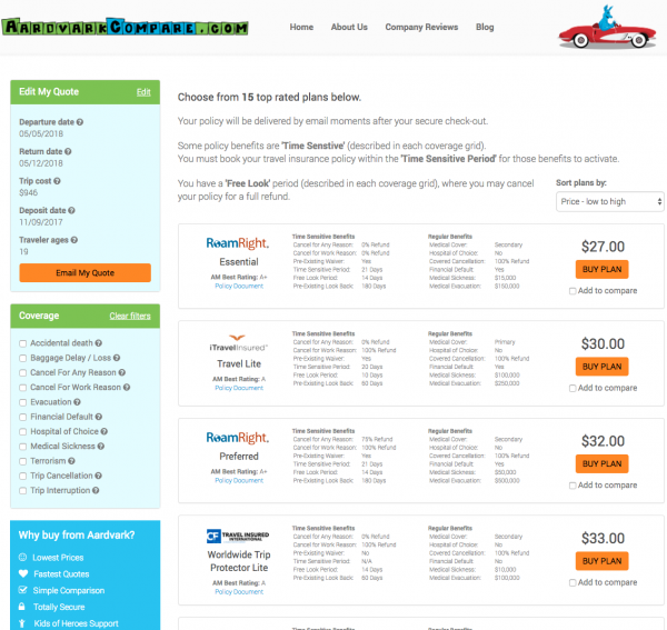 Priceline Travel Insurance - Aardvark International Options | AardvarkCompare.com