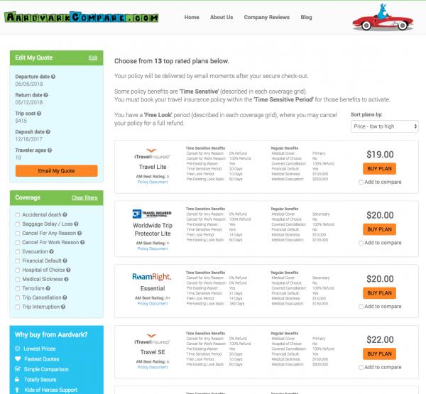 Spirit Travel Insurance - Aardvark International Options | AardvarkCompare.com