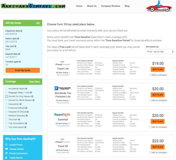 Spirit Travel Insurance - Aardvark Domestic Options | AardvarkCompare.com