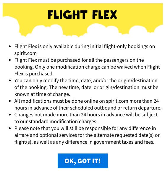Spirit Travel Insurance - Flight Flex Details | AardvarkCompare.com