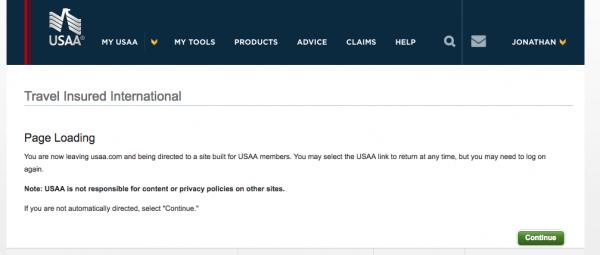 USAA Travel Insurance - Leaving Website | AardvarkCompare.com