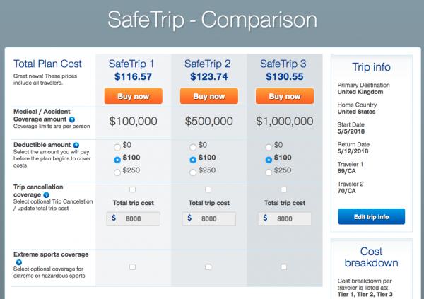 United Healthcare Travel Insurance - Pricing Grid | AardvarkCompare.com