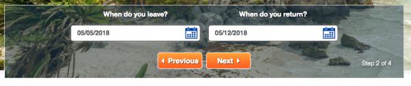 United Healthcare Travel Insurance - Step 2 Date of Travel | AardvarkCompare.com