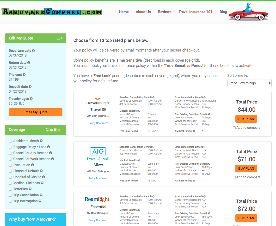 CheapTickets-Travel-Insurance-AardvarkCompare-Options | AardvarkCompare.com