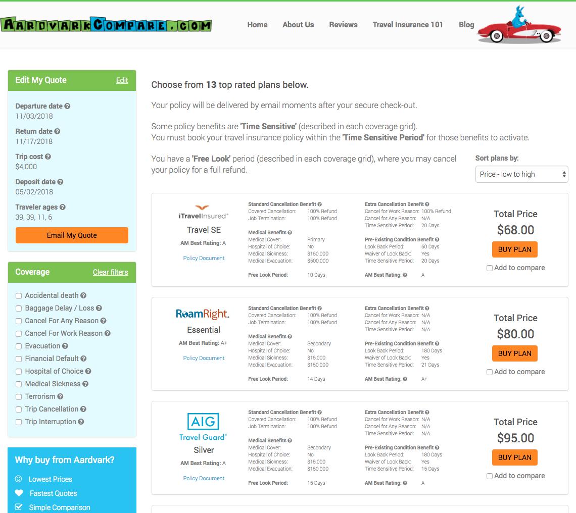 Expedia-CruiseShipCenter-Travel-Insurance-AardvarkCompare-Options   AardvarkCompare.com