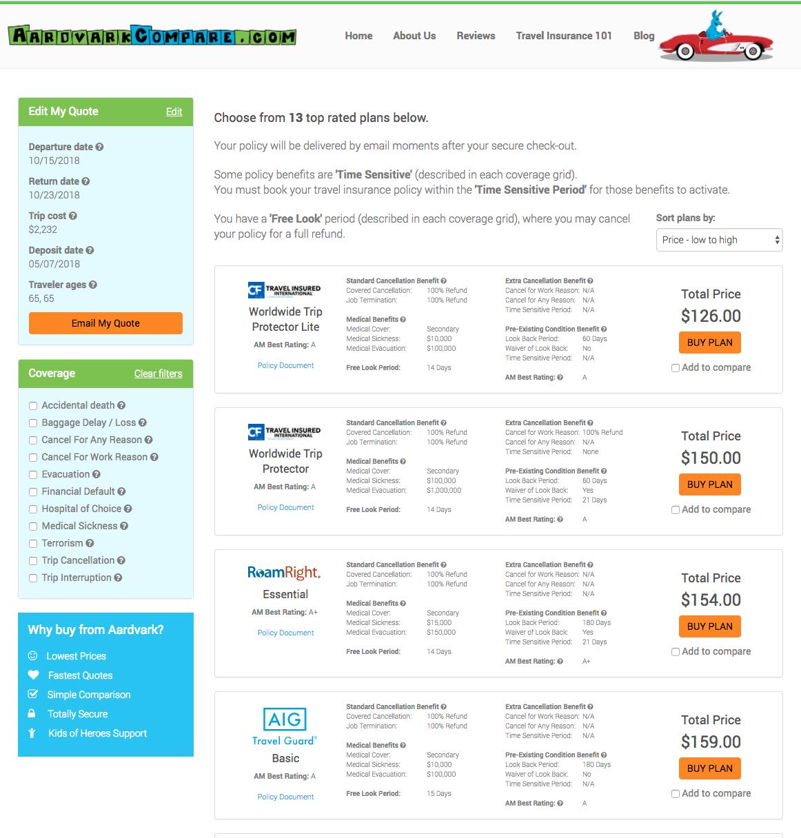 Expedia-AARP-Travel-Insurance-AardvarkCompare-Options | AardvarkCompare.com
