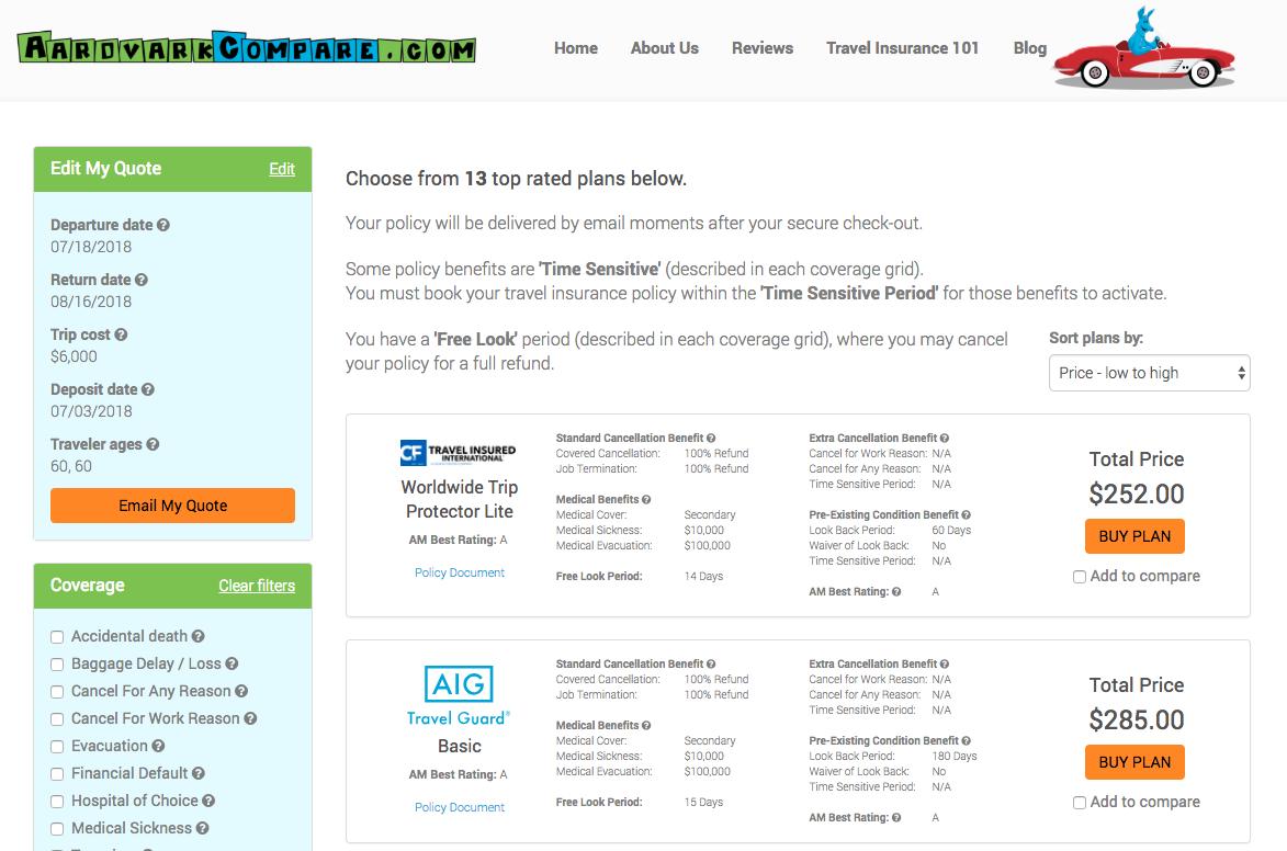 Cost-of-Travel-Insurance-Length-of-Trip-30-days | AardvarkCompare.com