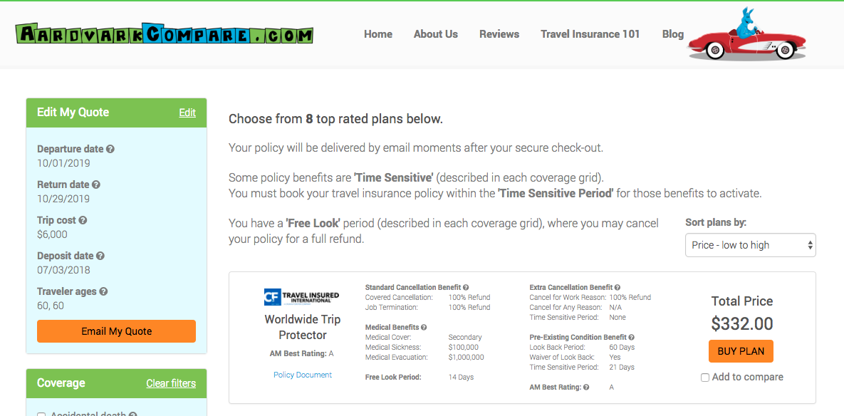 Cost-of-Travel-Insurance-Booking-Ahead | AardvarkCompare.com